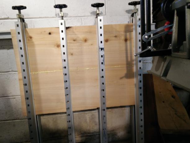 Cedar planks clamped