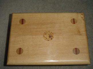 footstool top with burl inlay