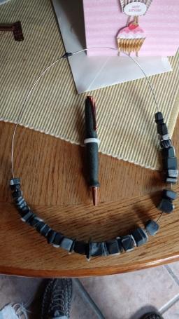 Granite pen with shale quartz cube necklace