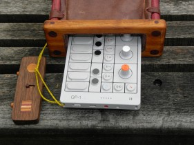 Leather exotic wood frame OP-1 case in situ