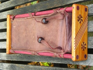 Leather exotic wood frame OP-1 case side