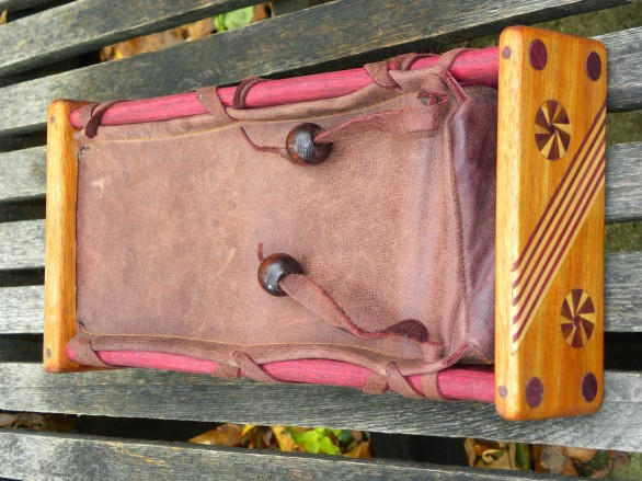 Leather exotic wood frame OP-1 case side