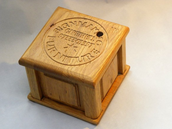 Oak ball maze puzzle top angle