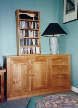 Oak bookcase and small cabinet