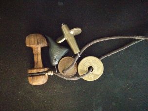 Red oak garment toggle