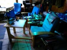 Horizontal Leg Tables in situ